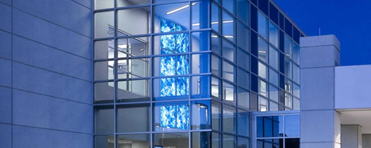 Backlit Wall in the Welcome Area Lobby Created an Engaging Memorable Experience | LECOM, Erie, PA | VKI Art: Moon Drops
